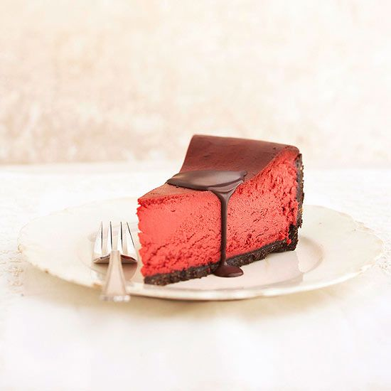 More Valentine's Day Treats: Red Velvet Cheesecake  Red is the color of Valentine's Day, but the taste of this luscious dessert is all chocolate.  // www.bhg.com/...