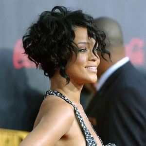 Rihanna short curly hair edgy bob