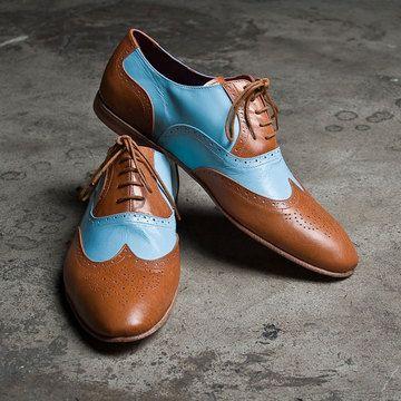 Oxford Shoes Men's Tan Blue