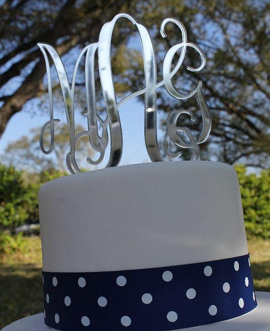 Interlocking Monogram Wedding Cake Topper