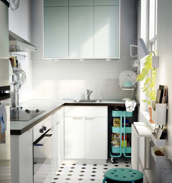 White mint ikea kitchen