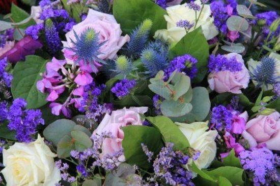 pruple blue flower arrangements
