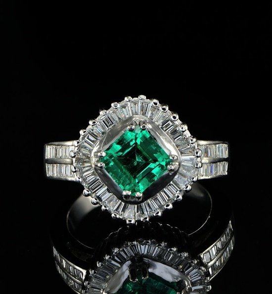 Spectacular top quality Columbian emerald and diamond one off ring. £3,500.00, via Etsy.