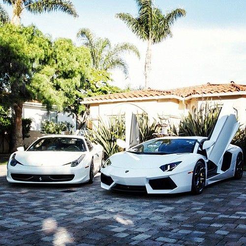 White Ferrari and Lamborghini
