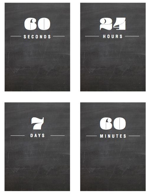 Free day.hour.week 3x4 blackboard cards