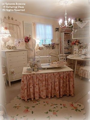Love this! shabby chic sewing room but would do as craft room