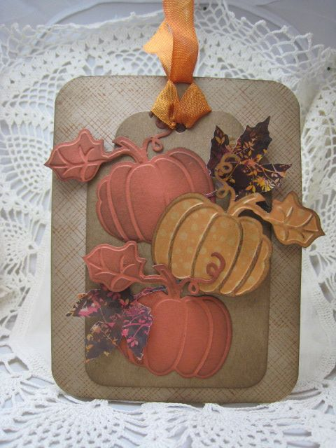 handmade card and tag for Autumn ... Fall pumpkins ... Fall colors ... embossed pumpkins embossed, cut out and shaded with inks ...