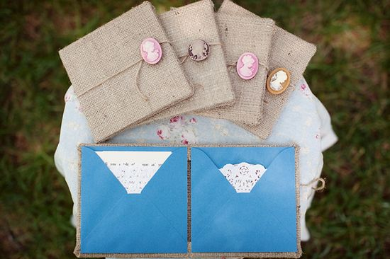 Burlap-wrapped and cameo-adorned stop-motion DVD wedding invitations