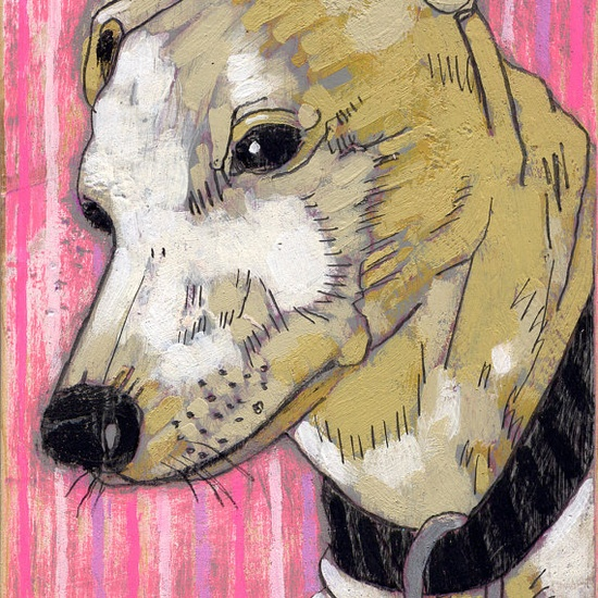 custom pet portrait by jennifer davis. I SO want her to paint my two dogs (saving up my pennies now).