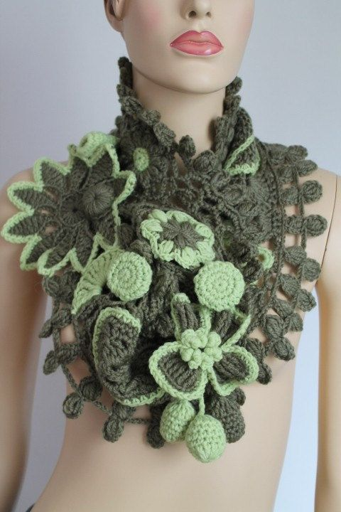 Freeform Scarf / Crochet Scarf /  Designer Scarf / by levintovich