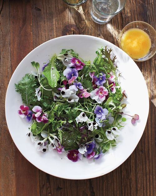 Green Salad with Edible Flowers Recipe by marthastewart #Salad #Flowers