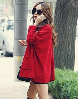 The south Korean star paragraph with loose big pocket and recreational sweater