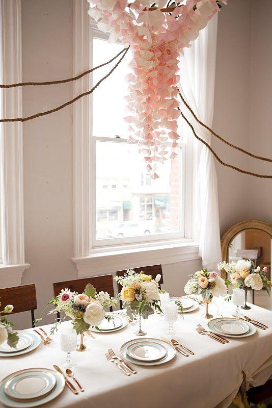 pretty tissue paper chandelier.