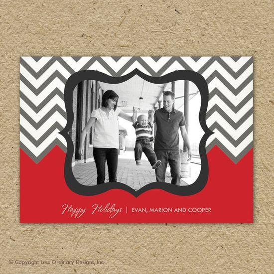 gray chevron photo Christmas Card, holiday photo card