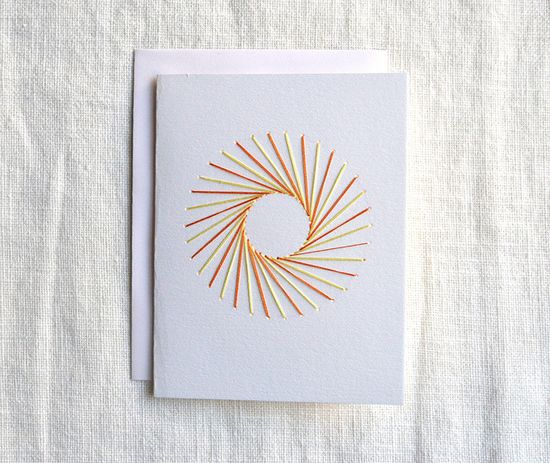 handmade card: Sun Embroidered Card ... clean and simple ... string art ...