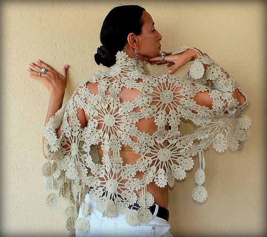 Blossoms of Spring / Crochet Champagne Wedding Bridal Shawl Wrap / Flowers Stole-Spring Bridesmaid Lace Fashion. $145.00, via Etsy.