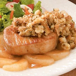 Pork Chops With Apple Stuffing.