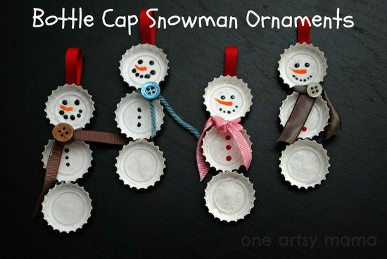 One Artsy Mama: Bottle Cap Snowman Ornaments