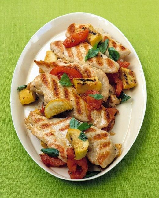 Grilled Chicken Cutlets with Squash and Tomatoes Recipe