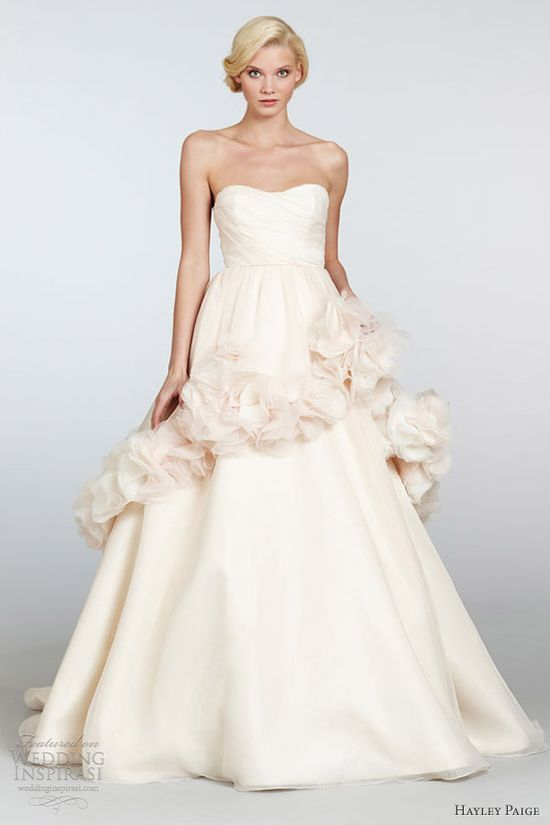 hayley paige spring 2013 petal bridal organza strapless ball gown ruched floral peplum