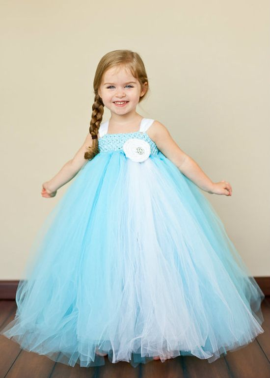 Flower Girl Tutu Dress in Tiffany Blue. $85.00, via Etsy.