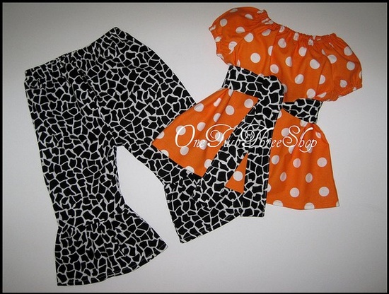 Custom Boutique Clothing Giraffe Halloween Pants and Top Set