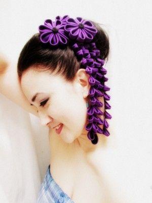 veil alternative- kanzashi hair ornaments