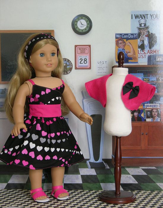 Chain of Hearts Dress for American Girl doll by cupcakecutiepie, cost 38.00