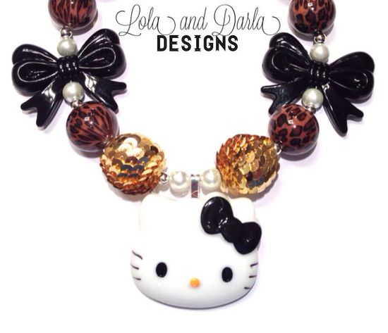 Leopard/gold Hello Kitty necklace chunky necklace bubblegum necklace boutique necklace birthday necklace girls necklace toddler necklace fun
