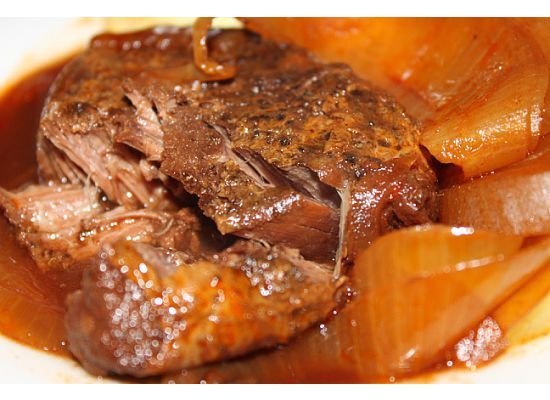Slow Cooker Balsamic Beef & Onions
