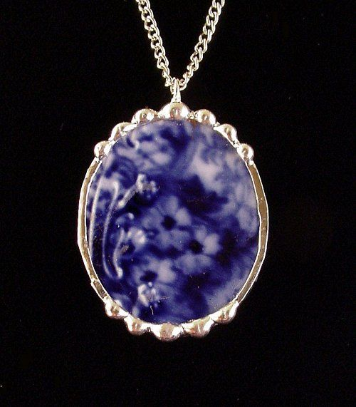 Broken china jewelry necklace pendant Antique 1880's Flow Blue oval made from a broken plate
