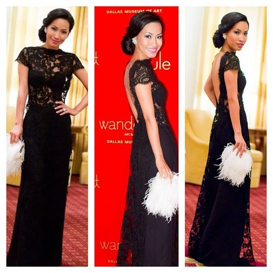 modern backless ao dai style in lace