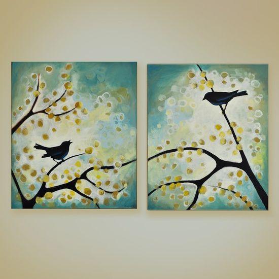 Lovely bird paintings but in fern & sage & olive & sand & mushroom & Sedona & eggshell