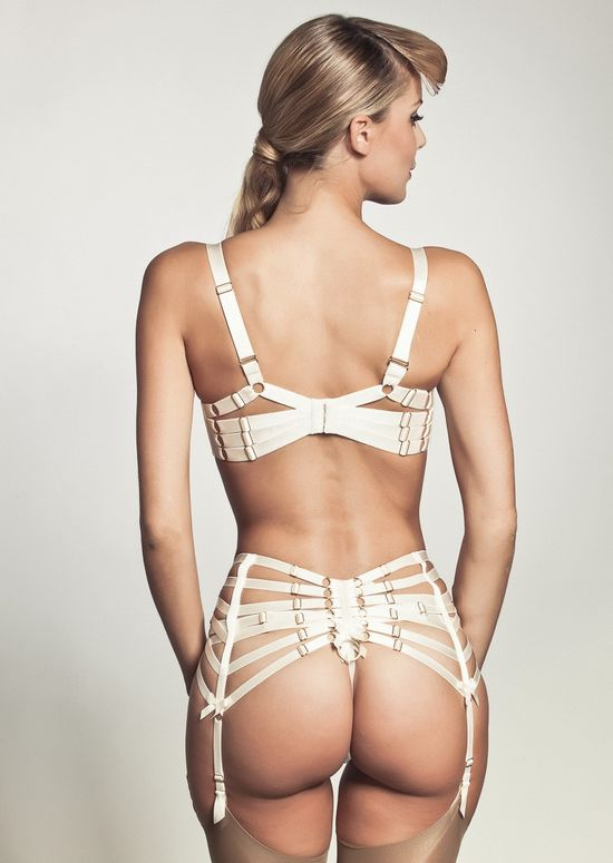 Bordelle - Push up Bodice Bra, Strap Suspender Belt and Harness Thong (via www.pleasurements.com)