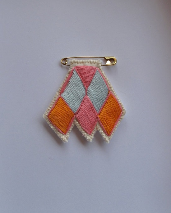 Diamond and chevron brooch on safety pin by AnAstridEndeavor