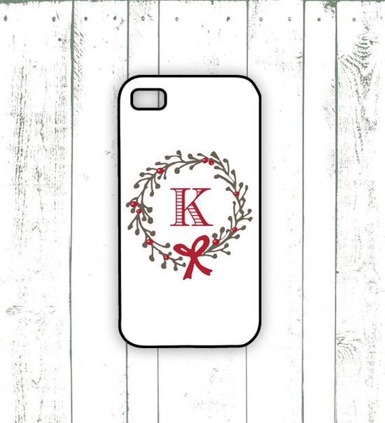 Wreath iPhone Case - Holiday iPhone Case with Monogram - Personalized Christmas Case on Etsy, $18.00
