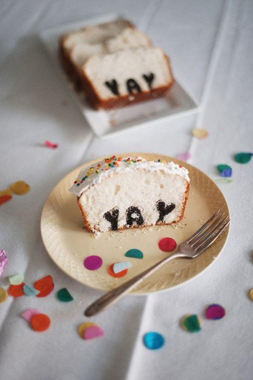 Typography birthday cake.