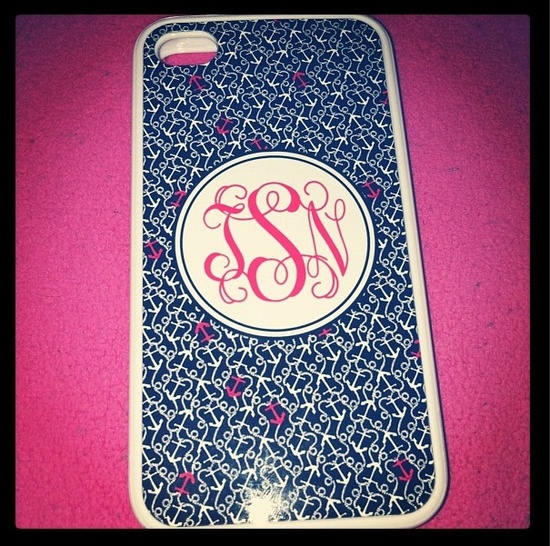 ETSY MONOGRAMMED PHONE CASE WITH LILLY PULITZER ANCHOR PRINT!