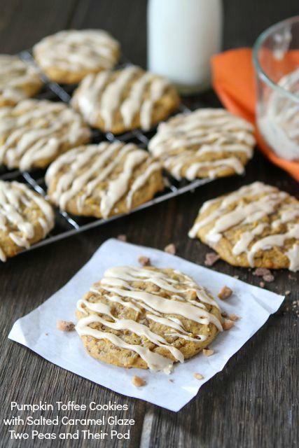 Pumpkin Toffee Cookies with Salted Caramel Glaze from www.twopeasandthe... #recipe #pumpkin