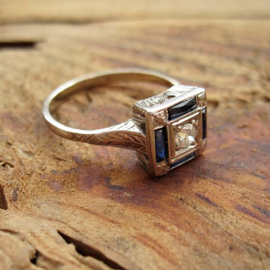 Vintage art deco diamond and sapphire ring