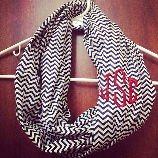 Monogram chevron infinity scarf by SwellSewell on Etsy, $25.00