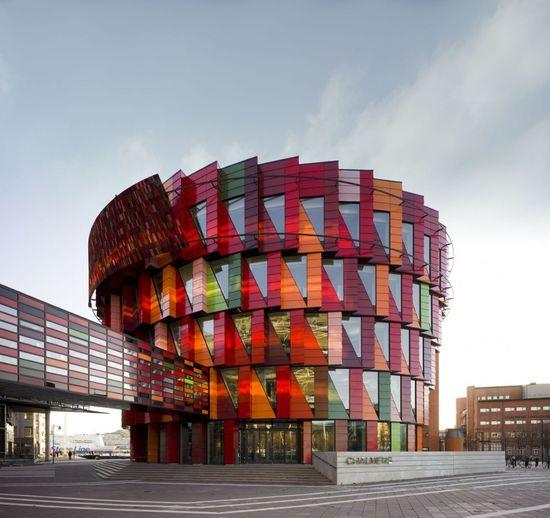 Colorful Architecture in Lindholmsplatsen, Göteborg, Sweden. Architect: Wingårdh Arkitektkontor.