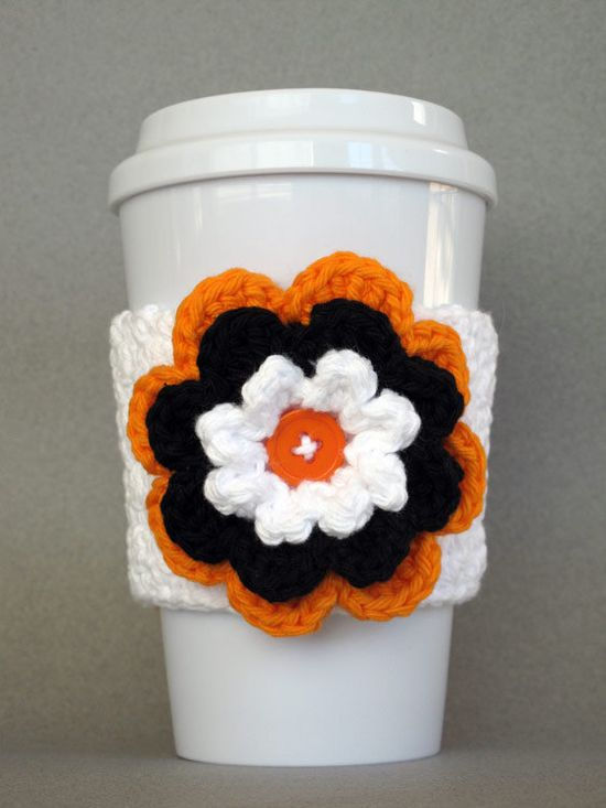 Crochet Flower Coffee Cup Cozy (Black Orange White) - Etsy $10.00