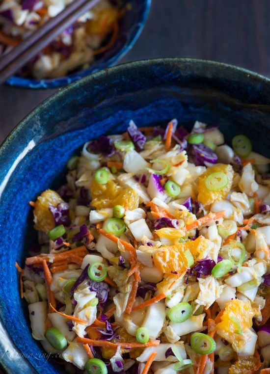 Asian Napa Slaw with Red Chili 'Peanut' Dressing by rawmazing #Slaw #Cabbage #Chili #Rw #Healthy