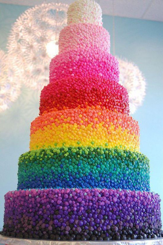 Cake iced with a rainbow of jelly beans!!
