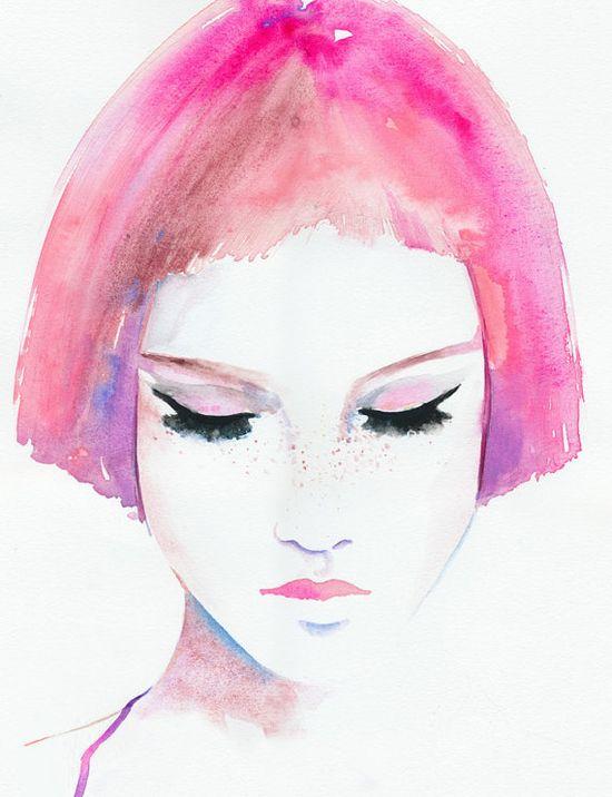 Print of Watercolor Fashion Illustration 13 x by silverridgestudio, $200.00