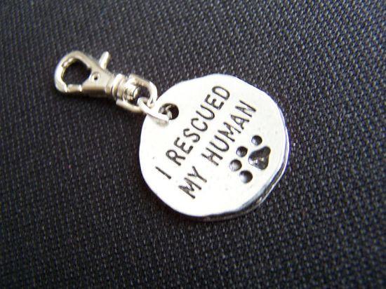dog Tag I rescued my human Dog tag Dog charm Dog by Frillypaws, $6.00