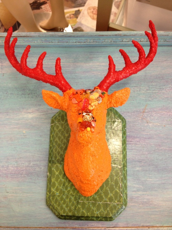 Funky Bright Red & Orange Jeweled Faux Taxidermy Deer Head Wall Mount. $45.00, via Etsy.