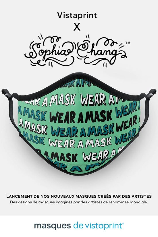 Nous sommes ravis de vous présenter la deuxième série de collaborations artistiques de Vistaprint. Découvrez nos masques imaginés par des artistes de renom, comme Sophia Chang, Face Oka et Just Don. Masque certifié grand public, UNS1 > 90% Conforme aux spécifications AFNOR.
