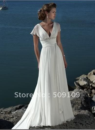mobile site-Short Sleeves Simple Beach Wedding Dress Sheath/Column V Neck Chiffo